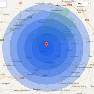 60km radius of Brantome